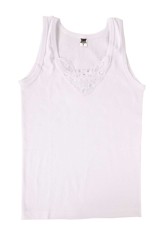 TUTKU - Tutku Ribana Kalın Askılı Güpürlü Atlet 140-6 | Beyaz