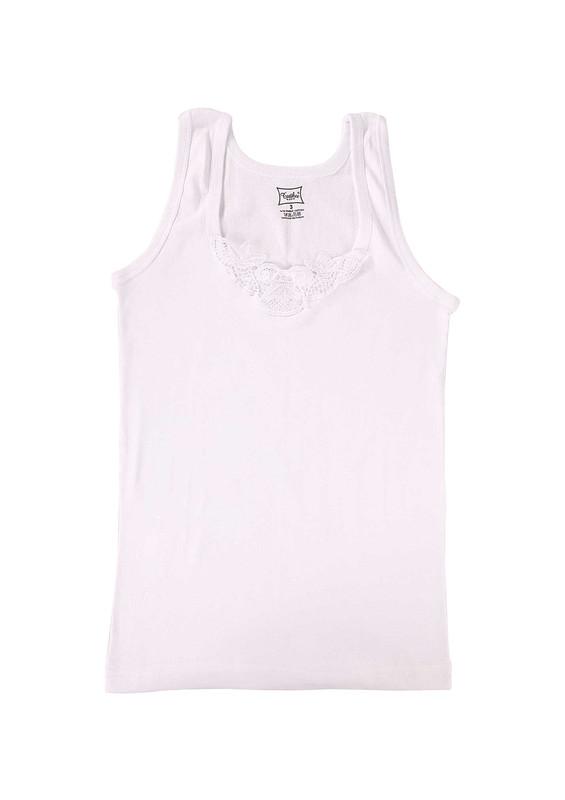 TUTKU - Tutku Ribana Kalın Askılı Güpürlü Atlet 140-3   Beyaz