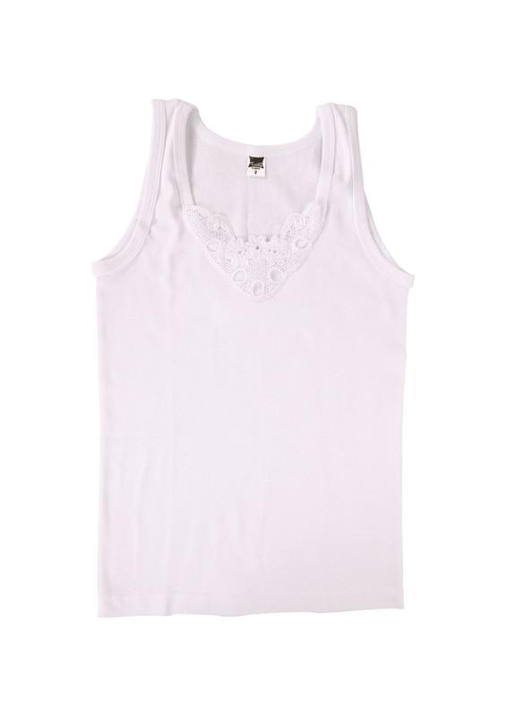 TUTKU - Tutku Ribana Kalın Askılı Güpürlü Atlet 140-2 | Beyaz