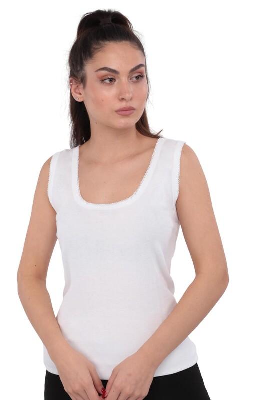 TUTKU - Tutku Kalın Askılı Kroşetalı Kadın Atlet 142 | Beyaz