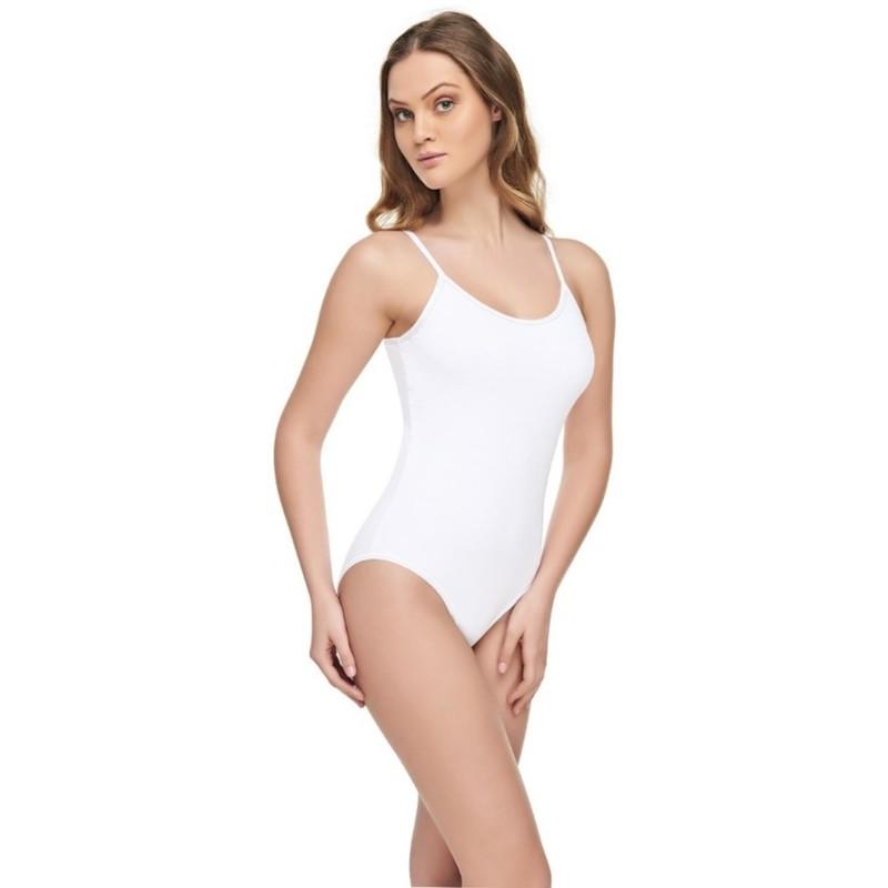 TUTKU ELİT - Tutku Elit Modal Elastan İp Askılı Kadın Bady 2004 | Beyaz