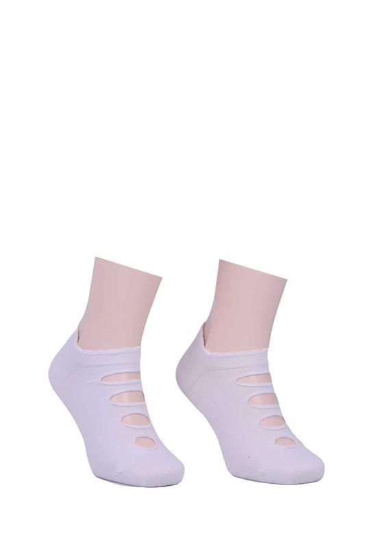 BERSO - Berso Üstü Delikli Babet Çorap 089 | Beyaz