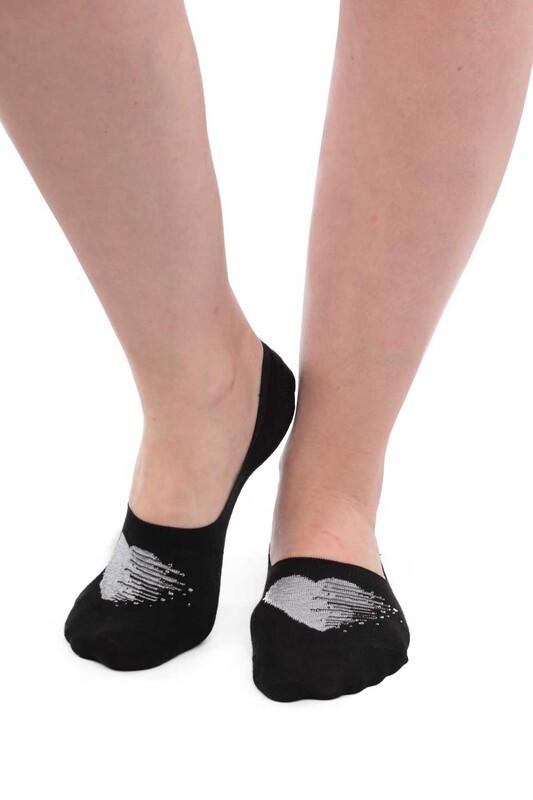 SİMİSSO - Bambu Kalp Desenli Kadın Babet Çorap 20710 | Gri