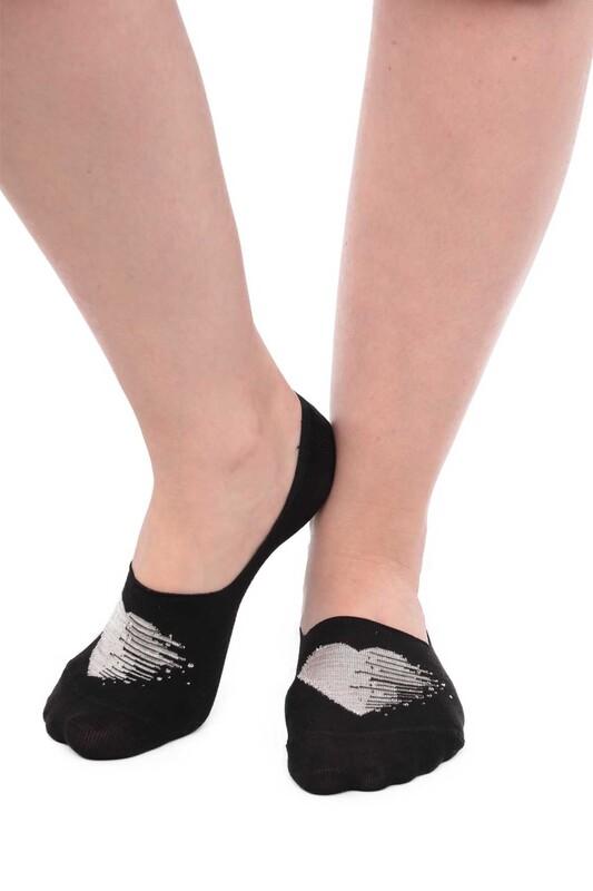 SİMİSSO - Bambu Kalp Desenli Kadın Babet Çorap 20710 | Taş