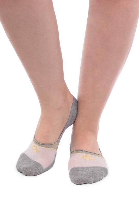 SİMİSSO - Bambu Simli Kadın Babet Çorap 20716 | Gri