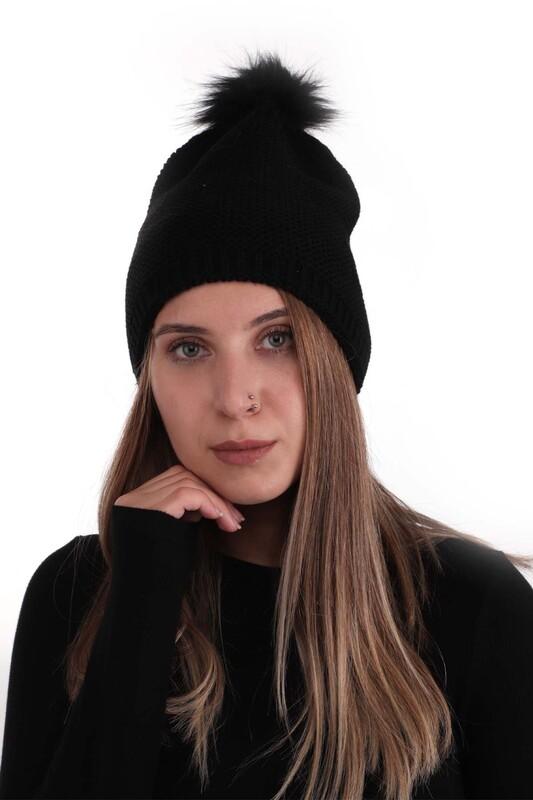 POYRAZ - Ponponlu Kadın Bere | Siyah