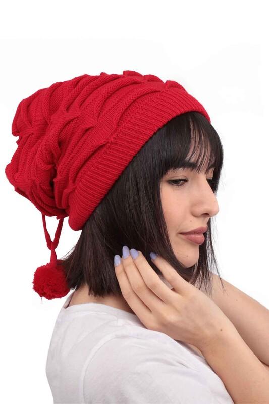 POYRAZ - Ponponlu İpli Kadın Bere | Kırmızı
