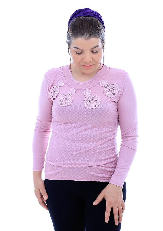GAMZEY - Yakası Dantel Desenli Uzun Kollu Bluz 581 | Pudra