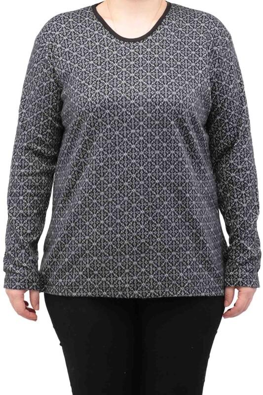 SİMİSSO - Çizgi Desenli Uzun Kollu Kadın Bluz 2082 | Siyah