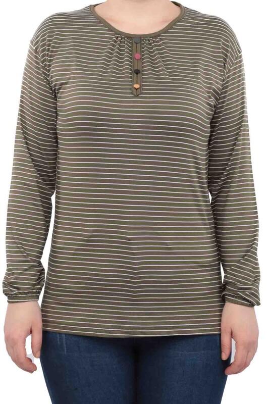 SİMİSSO - Düğmeli Uzun Kollu Kadın Bluz | Yeşil