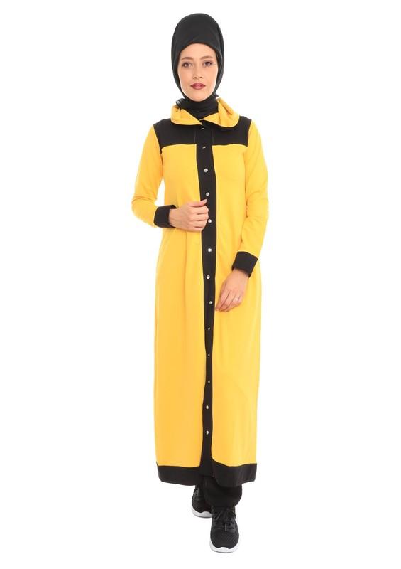 LOLITAM - Lolitam Düğmeli Sarı-Siyah Tesettür Eşofman Takımı 10900   Sarı
