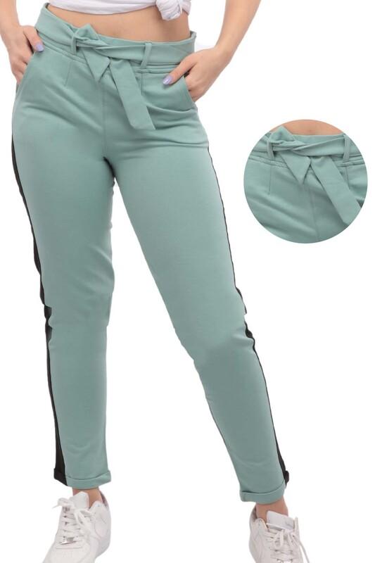 SİMİSSO - Yanları Şeritli Kadın Eşofman Altı   Yeşil