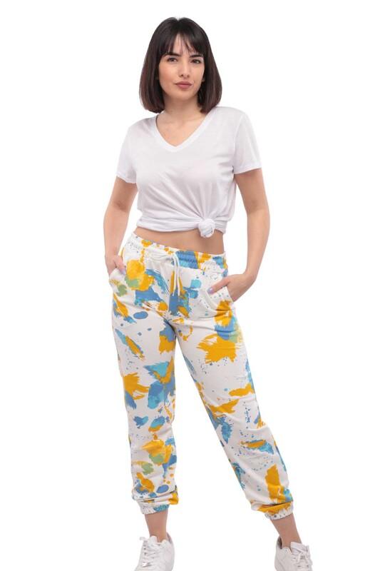 SİMİSSO - Batik Desenli Kadın Eşofman Altı   Sarı