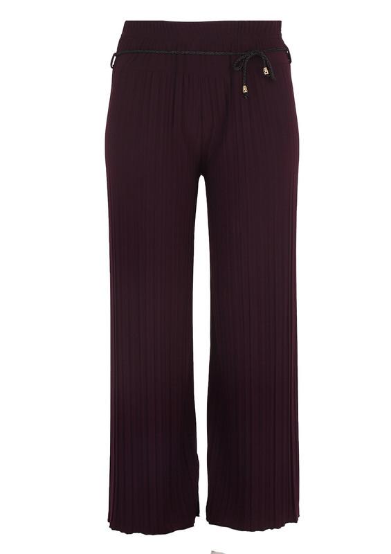 SEVİNÇ - Geniş Paçalı İp Kemerli Etekli Pantolon | Mürdüm