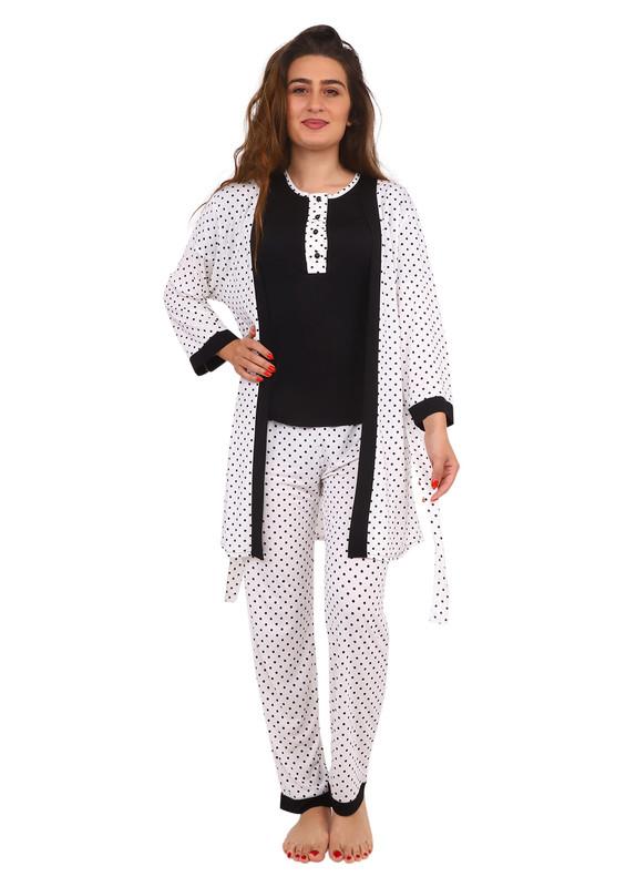 JAR PIERRE - Jar Pierre Düğme Detaylı Puantiyeli Siyah-Beyaz Pijama Seti 3 ' lü 215 | Siyah