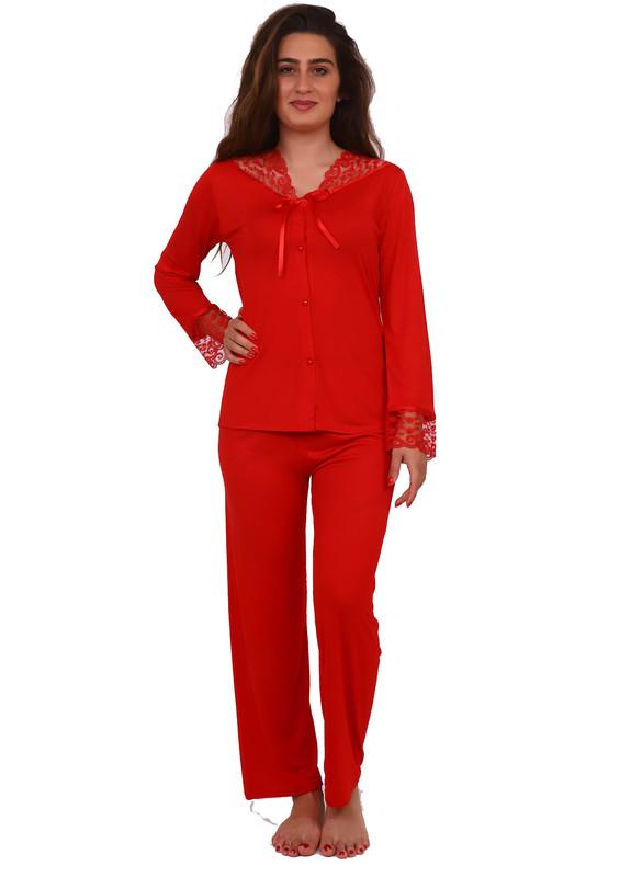 JAR PIERRE - Jar Pierre Yakası ve Kolları Güpürlü Düğmeli Kırmızı Pijama Takımı 307 | Kırmızı