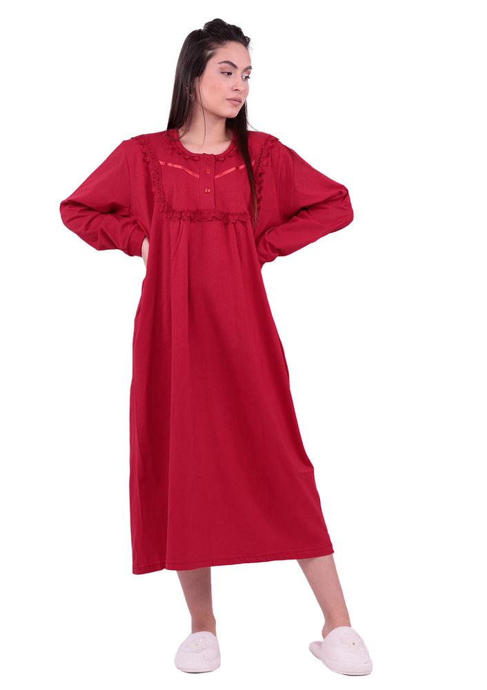Uzun Kollu Güpürlü Gecelik 3004 | Kırmızı