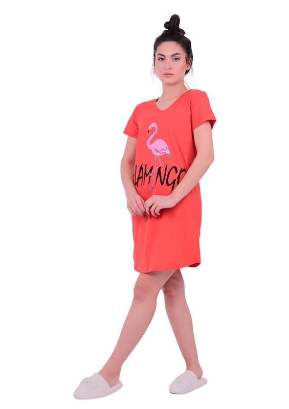 Snc Flamingo Desenli Kısa Kollu Gecelik 8041   Kırmızı - Thumbnail