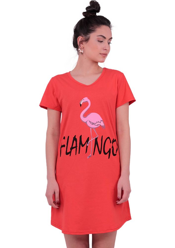 Snc Flamingo Desenli Kısa Kollu Gecelik 8041   Kırmızı