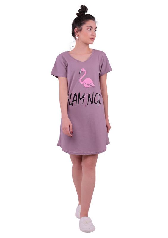 SNC - Snc Flamingo Desenli Kısa Kollu Gecelik 8041 | Vizon