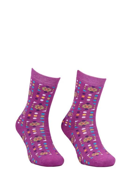 ADA - Ada Puantiyeli Desenli Havlu Çorap 4200 | Mürdüm