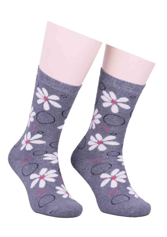 ARC - Arc Çiçekli Havlu Çorap 212 | Gri