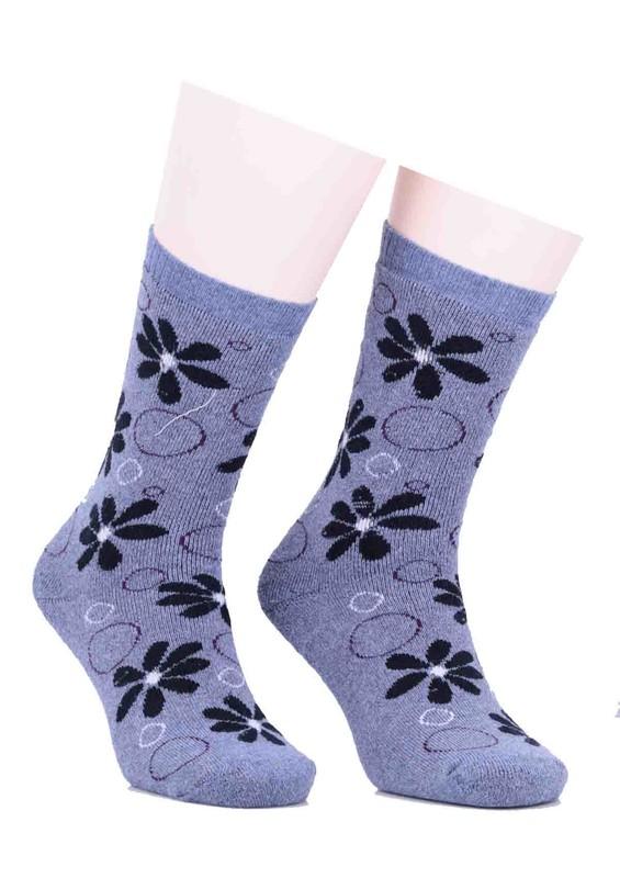 ARC - Arc Çiçekli Havlu Çorap 212 | İndigo