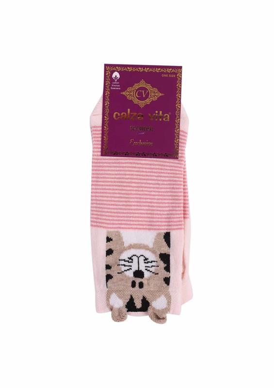 CALZE VİTA - Calze Vita Çizgili Baskılı Kulaklı Çorap 336   Pembe