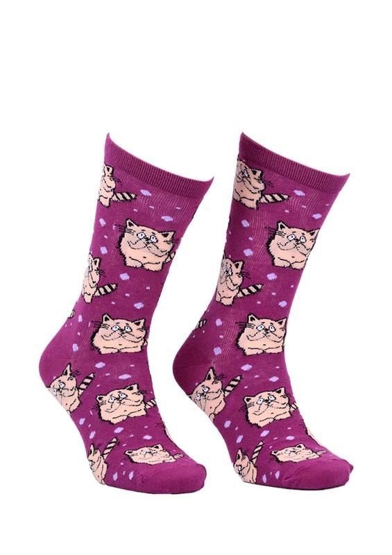 CALZE VİTA - Calze Vita Kedi Desenli Çorap 337 | Mürdüm