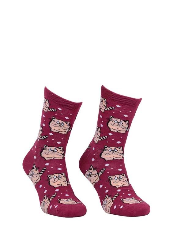CALZE VİTA - Calze Vita Kedi Desenli Çorap 337 | Mor