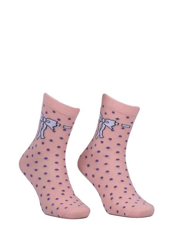 CALZE VİTA - Calze Vita Puantiyeli Kurdele Desenli Çorap 345   Pudra