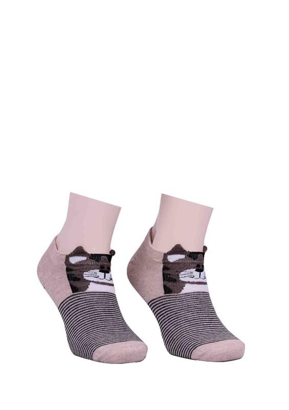 CALZE VİTA - Calze Vita Çizgili Baskılı Kulaklı Çorap 336 | Kahverengi