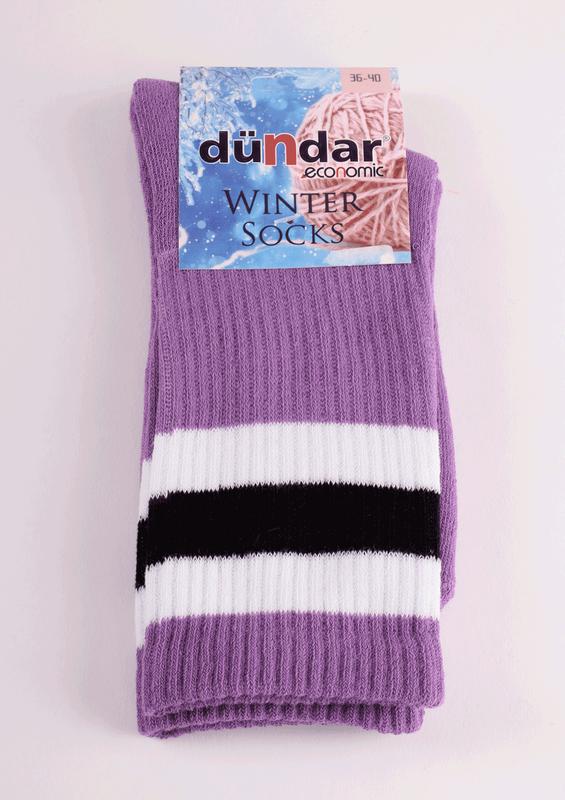 DÜNDAR - Dündar Desenli Havlu Çorap 8504 | Lila