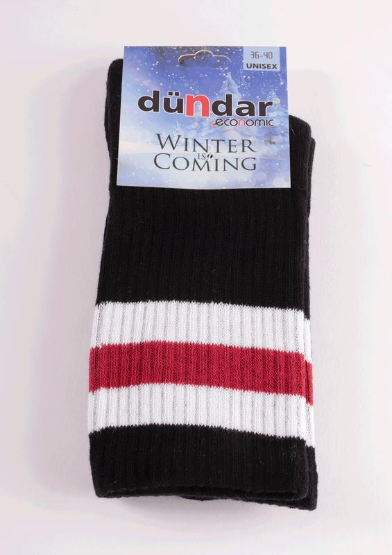 DÜNDAR - Dündar Desenli Havlu Çorap 8504   Siyah