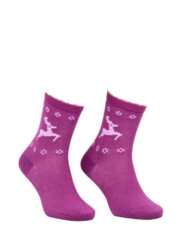 DÜNDAR - Dündar Geyikli Çiçekli Dikişsiz Çorap 2085   Mürdüm