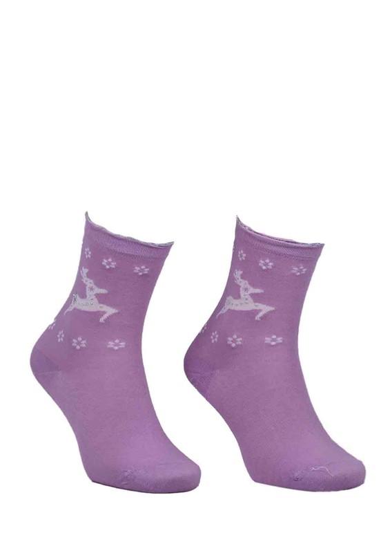 DÜNDAR - Dündar Geyikli Çiçekli Dikişsiz Çorap 2085   Lila