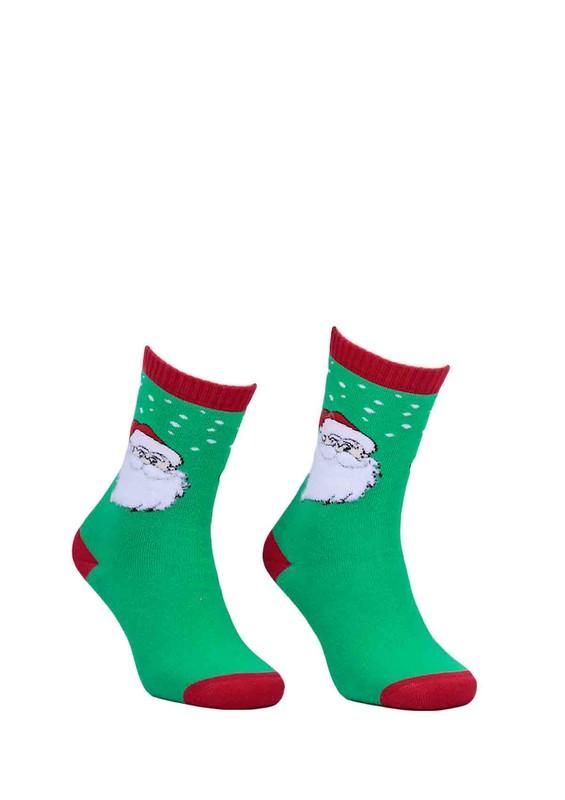 DÜNDAR - Dündar Noel Desenli Baskılı Dikişsiz Çorap 014   Yeşil