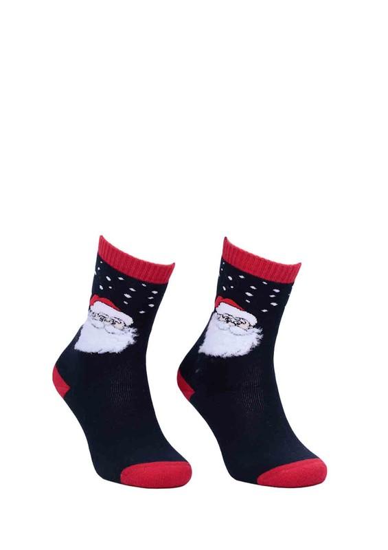 DÜNDAR - Dündar Noel Desenli Baskılı Dikişsiz Çorap 014   Lacivert