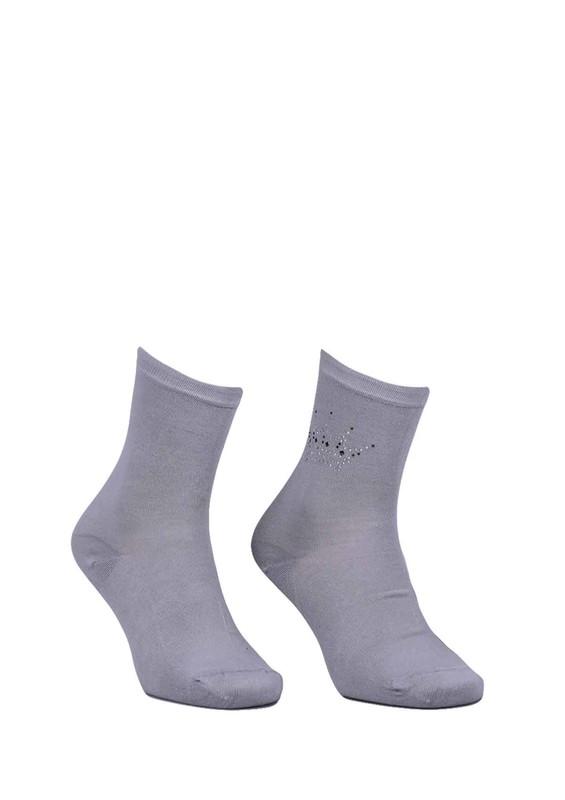 DÜNDAR - Dündar Taç Desenli Çorap 8508   Gri