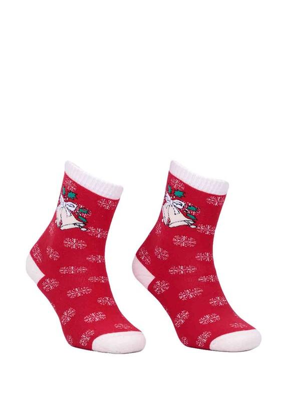 DÜNDAR - Dündar Çanlı Desenli Kırmızı Çorap 012   Kırmızı