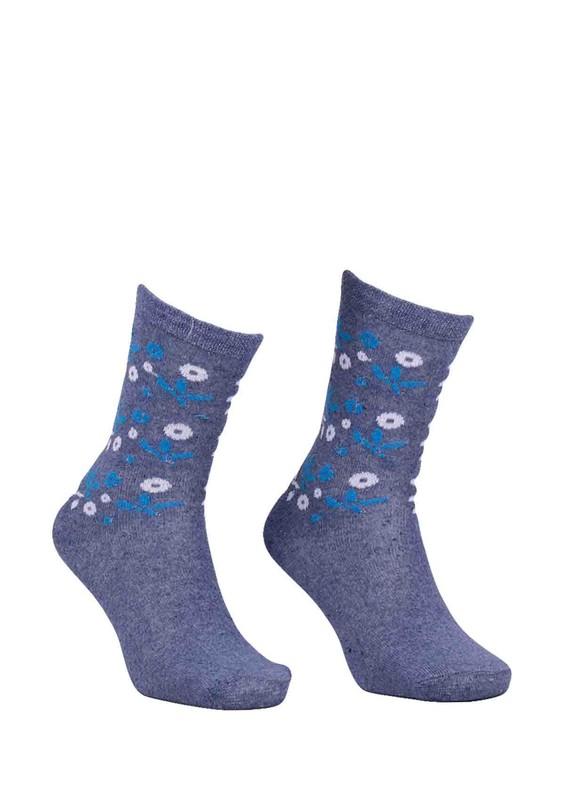ÖZGİRAY - Desenli Pamuklu Çorap 6005 | İndigo