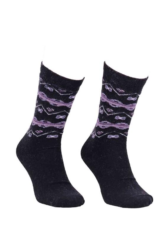 ÖZMEN - Desenli Yün Çorap 3010 | Siyah
