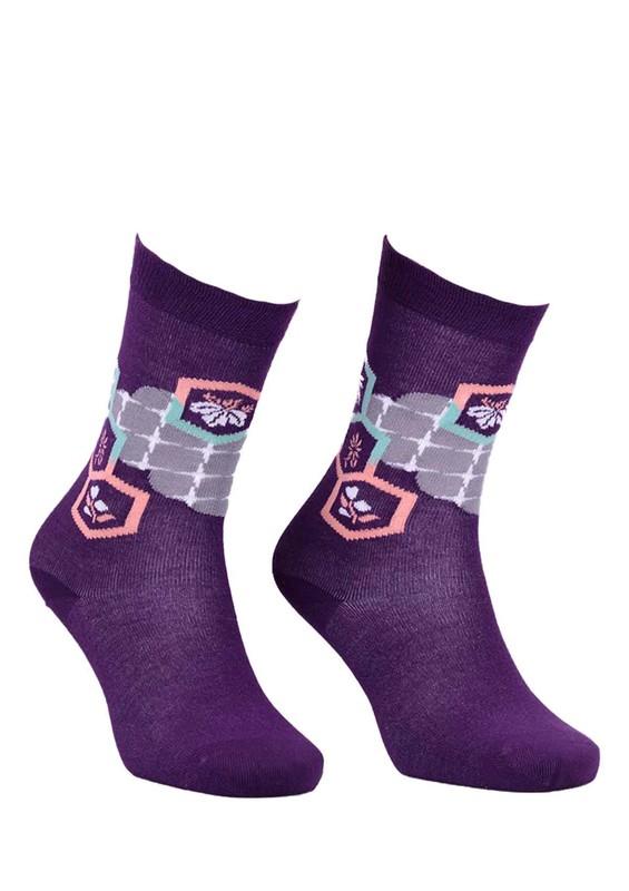 PAKTAŞ - Paktaş Dikişsiz Desenli Çorap 2585 | Mor
