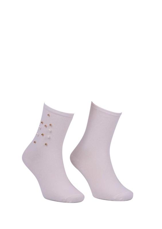 PAMELA - Boncuklu Düz Çorap 619   Krem
