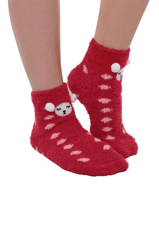 SAHAB - Ayıcık Nakışlı Kadın Pelüş Çorap 47100 | Kırmızı
