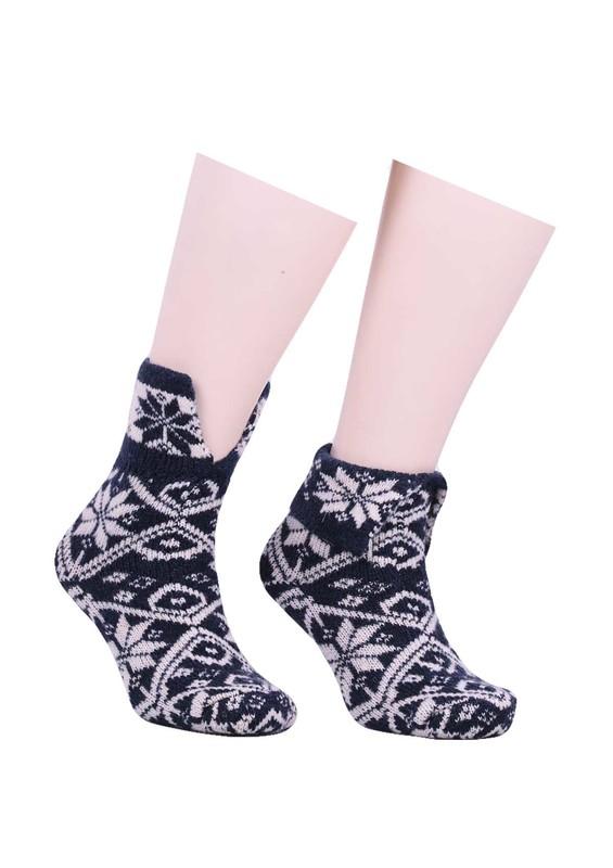SARA DONNA - Desenli Yün Çorap 530 | Lacivert