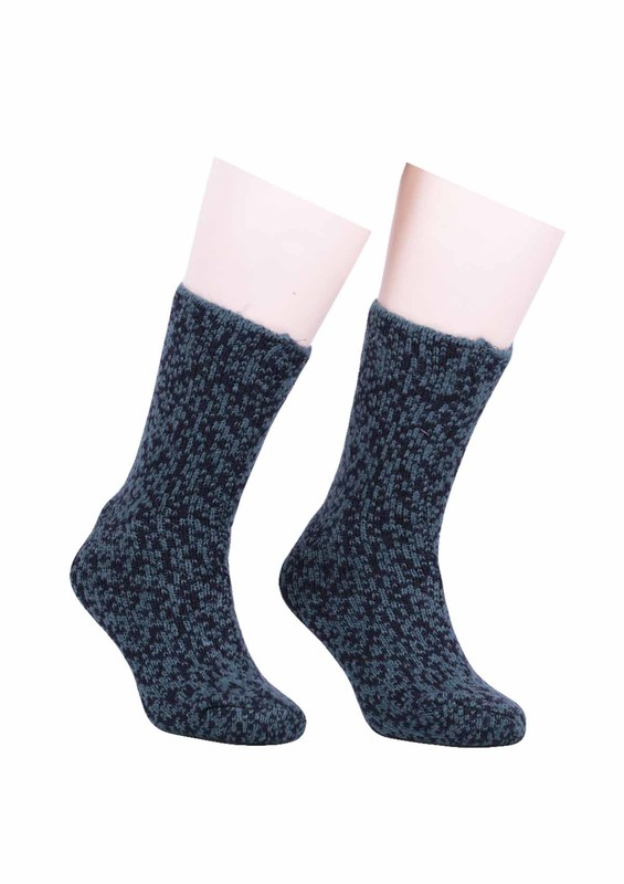 SARA DONNA - Desenli Yün Çorap 527 | Haki