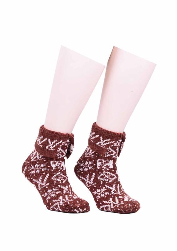 SARA DONNA - Desenli Yün Çorap 523   Kahverengi