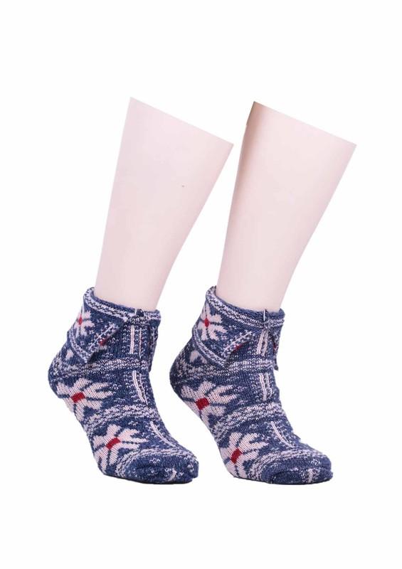 SARA DONNA - Çiçek Desenli Yün Çorap 526 | Mavi
