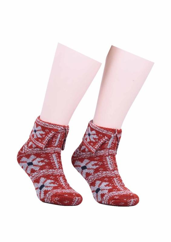 SARA DONNA - Çiçek Desenli Yün Çorap 526 | Turuncu